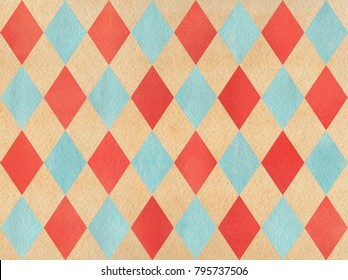 Watercolor red, blue and beige diamond pattern. Geometrical traditional ornament for fashion textile, cloth, backgrounds.