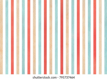 Watercolor red, blue and beige striped background.
