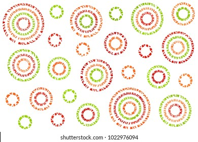 Watercolor red, green and orange abstract circles on white background.