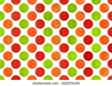 Watercolor red, green and orange polka dot background. Pattern with polka dots for scrapbooks, wedding, party or baby shower invitations.