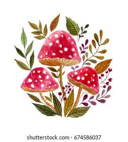 Watercolor red mushrooms