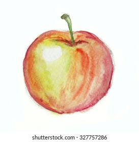 watercolor red and orange apple