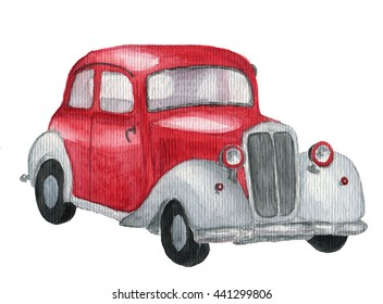 Watercolor red retro car. Hand drawn vintage automobile on white background. Transportation illustration for design, textile and background.