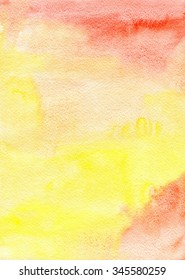 Watercolor red & yellow hand drawn background gradient, aquarelle abstract wash drawing blots