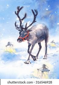 Watercolor Reindeer Winter Wonderland Hand Painted Christmas Holiday Illustration