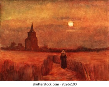 """Watercolor reproduction from the Vincent van Gog oil painting """"The Old Tower in the Fields"""""""