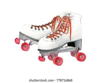 Watercolor Retro Roller Skate Iillustration. Watercolor hand drawn white retro roller skate on wheels.