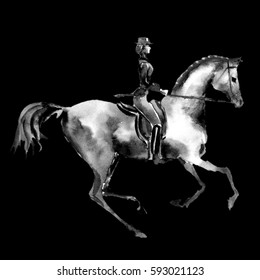 Watercolor rider and dressage horse on black background. Equestrian sport. Hand painting black and white illustration equine background