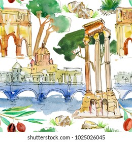 Watercolor Rome seamless pattern. Hand drawn illustration on white background