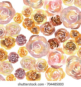 Watercolor rose brown background