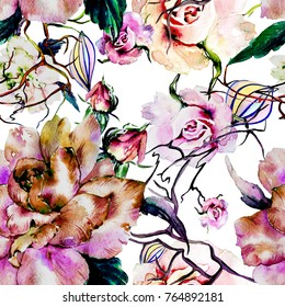 Watercolor rose flowers.Seamless pattern.Free design wallpaper.Fashion textile fabric print.Wild tropical exotic plants.Magic branch.Magnolia.Sacura.Green leaves.
