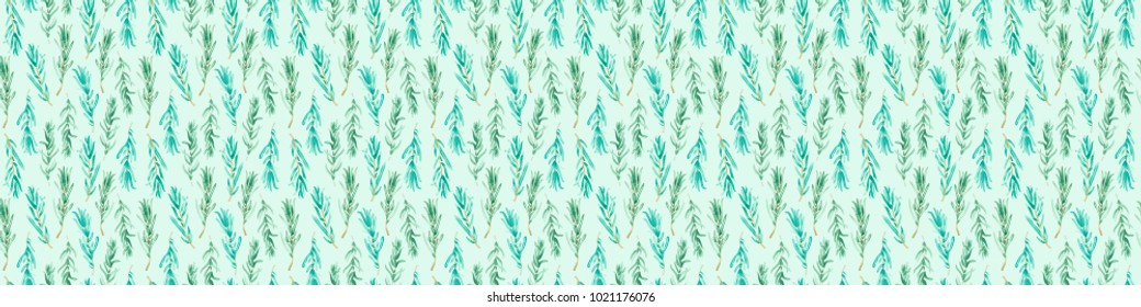 Watercolor Rosemary pattern seamless, green rosemary decoration,  craft label design bio food, vegetarian natural banner, restaurant menu background.