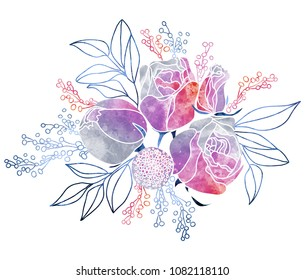 Watercolor Roses and Mimosa Bouquet