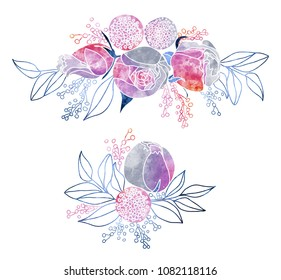 Watercolor Roses and Mimosa Bouquets
