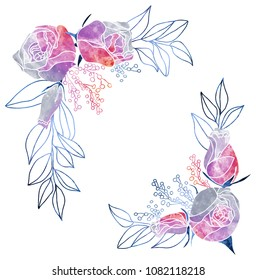 Watercolor Roses and Mimosa Frame