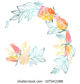 Watercolor Roses and Mimosa Frame and Bouquet