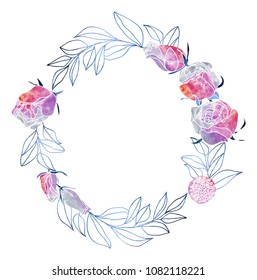 Watercolor Roses and Mimosa Wreath