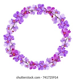 """Watercolor round frame """"Orchid"""""""