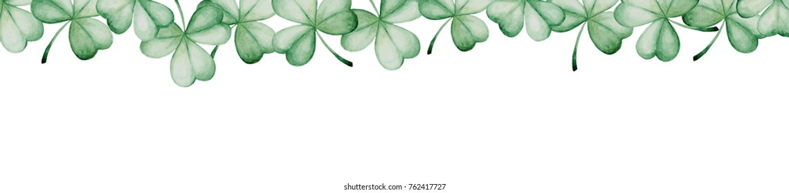 Watercolor Saint Patrick's Day banner. Clover ornament. For design, print or background.