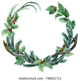 Watercolor Scandinavian Christmas Wreath. Hand drawn winter decoration. Magnolia leaves, spruce, cedar, eucalyptus, holly and pinecones bouquet. Round winter floral frame.