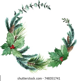 Watercolor Scandinavian Christmas Wreath. Hand drawn winter decoration. Magnolia leaves, spruce, eucalyptus, holly and pinecones bouquet. Round winter floral frame.