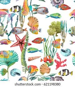 Watercolor Sea Life, Seaweed, Shell, fish, sea horse, beautiful seamless pattern for design