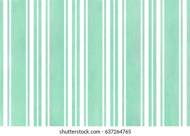 Watercolor seafoam blue striped background. Watercolor geometric pattern.
