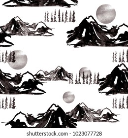 Watercolor seamless art background. Nature, mountains, countryside, black silhouette of mountains.  sun, sunset, dawn, trees, spruce, forest. Graphic, vintage drawing.