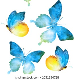 Watercolor seamless butterfly background