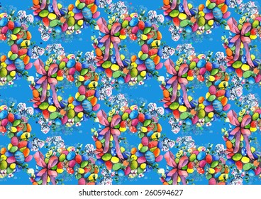 Watercolor seamless Easter wreath pattern on turquoise blue background