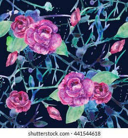 Watercolor seamless floral pattern, watercolor flowers pattern