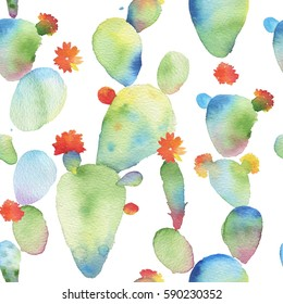 Watercolor seamless Opuntia cactus pattern background. Cactus seamless pattern. Trends tropical cactus watercolor pattern. Watercolor cactus wallpaper.