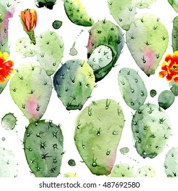 Watercolor seamless pattern. Watercolor cactus seamless floral pattern background, wallpaper, fabric. #3