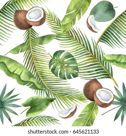Watercolor seamless pattern of coconut and palm trees isolated on white background. Hand painted illustration for design kitchen, bio food, menu, healthy eating, textiles, market.