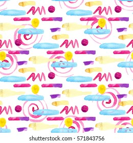 Watercolor seamless pattern with colorful strokes and blots. Modern textile design