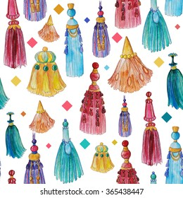 Watercolor seamless pattern with colorful tassels
