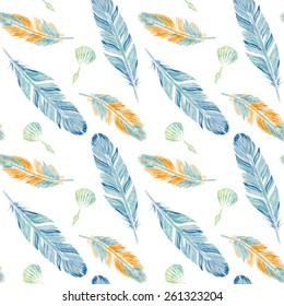 Watercolor seamless pattern with feathers.