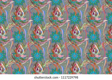 Watercolor seamless pattern. Floral print. Flowers on gray, blue and green colors in watercolor style.