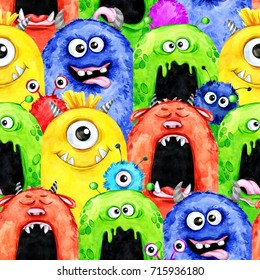 Watercolor seamless pattern with funny monster heads. Celebration illustration. Cartoon horror party. Funny beasts. Baby background. Can be use in holidays, birthday design, posters, cards.