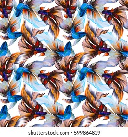Watercolor seamless pattern with golden fish, veiltail. Hand drawing llustration, color pencil. Graphic art. It may be used for poster, design of a t-shirt, postcard, case and bag. Textile design