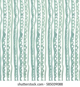 Watercolor seamless pattern with green wavy lines.