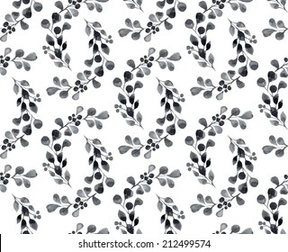 Watercolor seamless pattern with leaves and berries