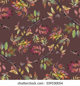 Watercolor seamless pattern on brown background with autumn leaves