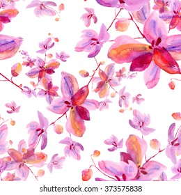 Watercolor seamless pattern orchid flowers
