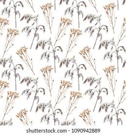 Watercolor seamless pattern of ornamental grass. Winter plants for garden