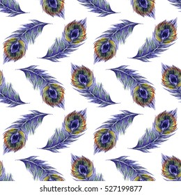 Watercolor seamless pattern with peacock feathers isolated on white background. Cute hand drawn illustration