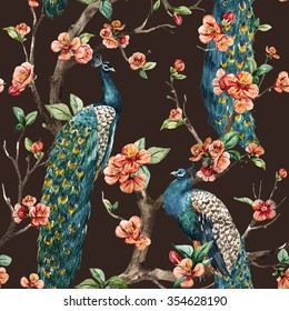 watercolor seamless pattern with peacock on a tree Cherry blossom trees, a beautiful retro pattern