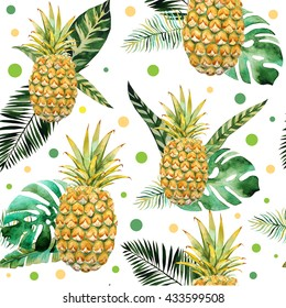Watercolor seamless pattern with pineapples and tropic leafs