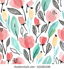 Watercolor seamless pattern with pink flowers and green leaves