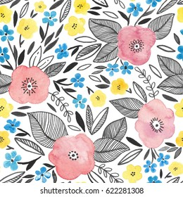 Watercolor seamless pattern with pink and yellow flowers
